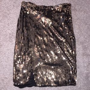 NWT Gold black sequin stretch wrap pencil skirt
